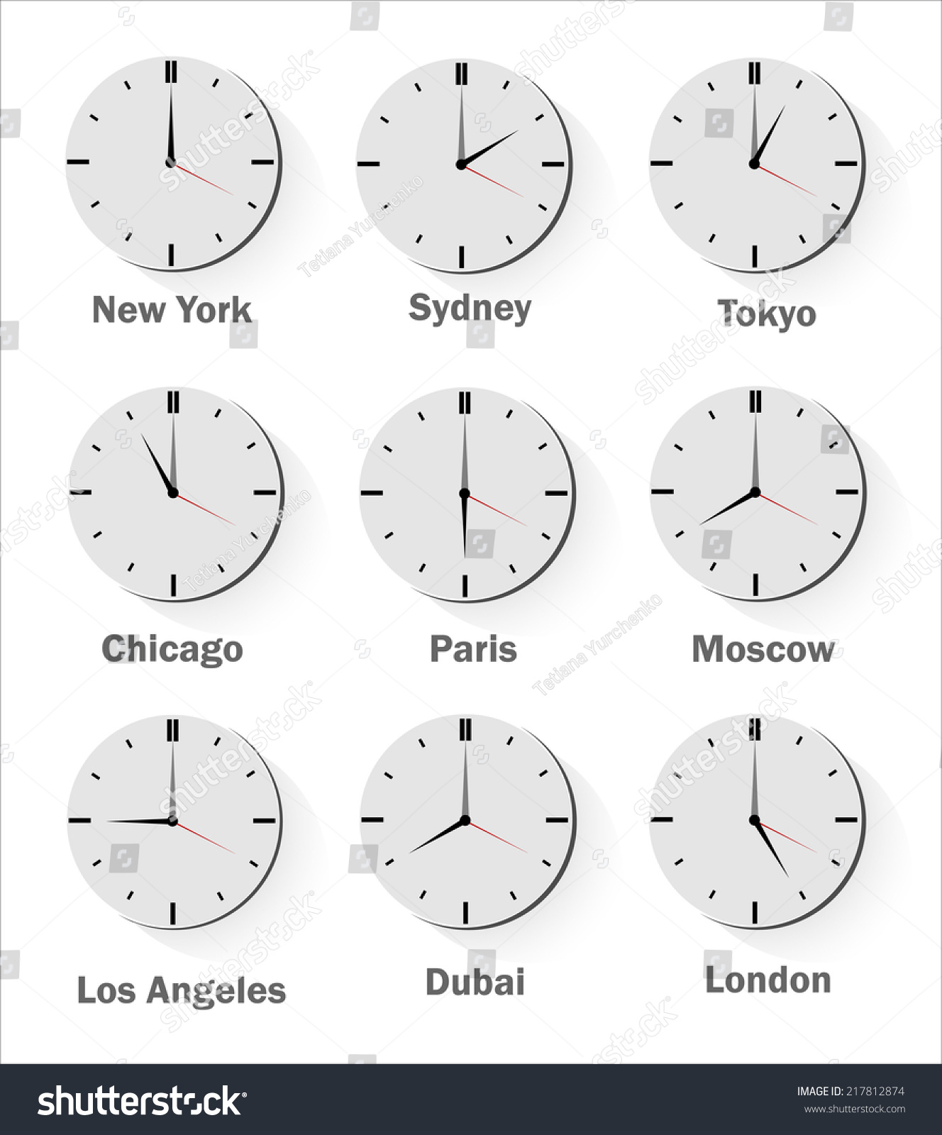 world clock time difference major cities stock vector