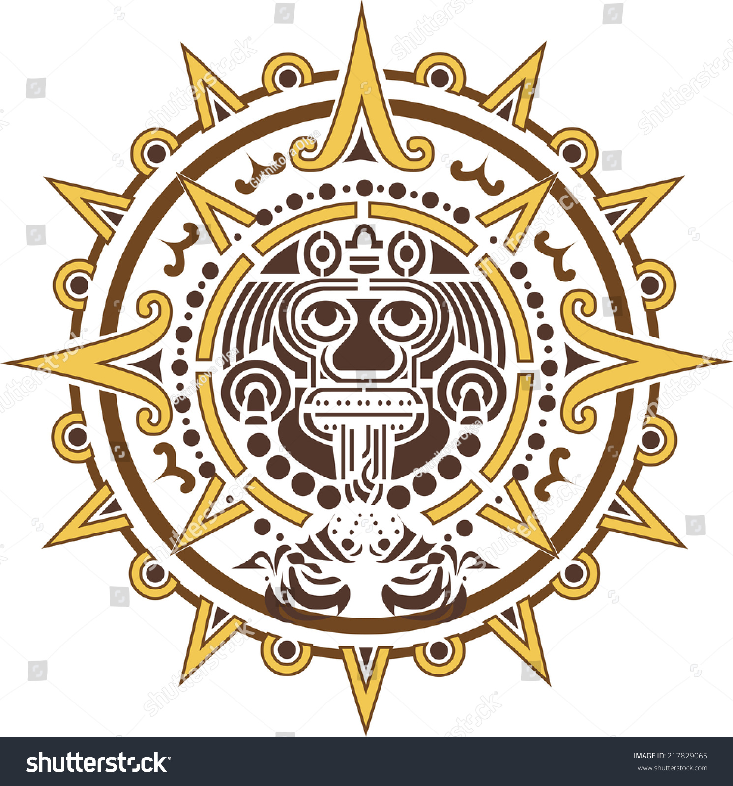 Aztec sun logo ethnic symbol stock vector 217829065 shutterstock aztec sun logo ethnic symbol biocorpaavc Gallery