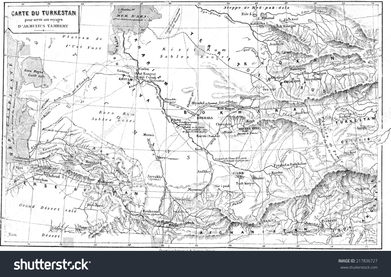 Map turkestan vintage engraved illustration le stock illustration map of turkestan vintage engraved illustration le tour du monde travel journal gumiabroncs Gallery