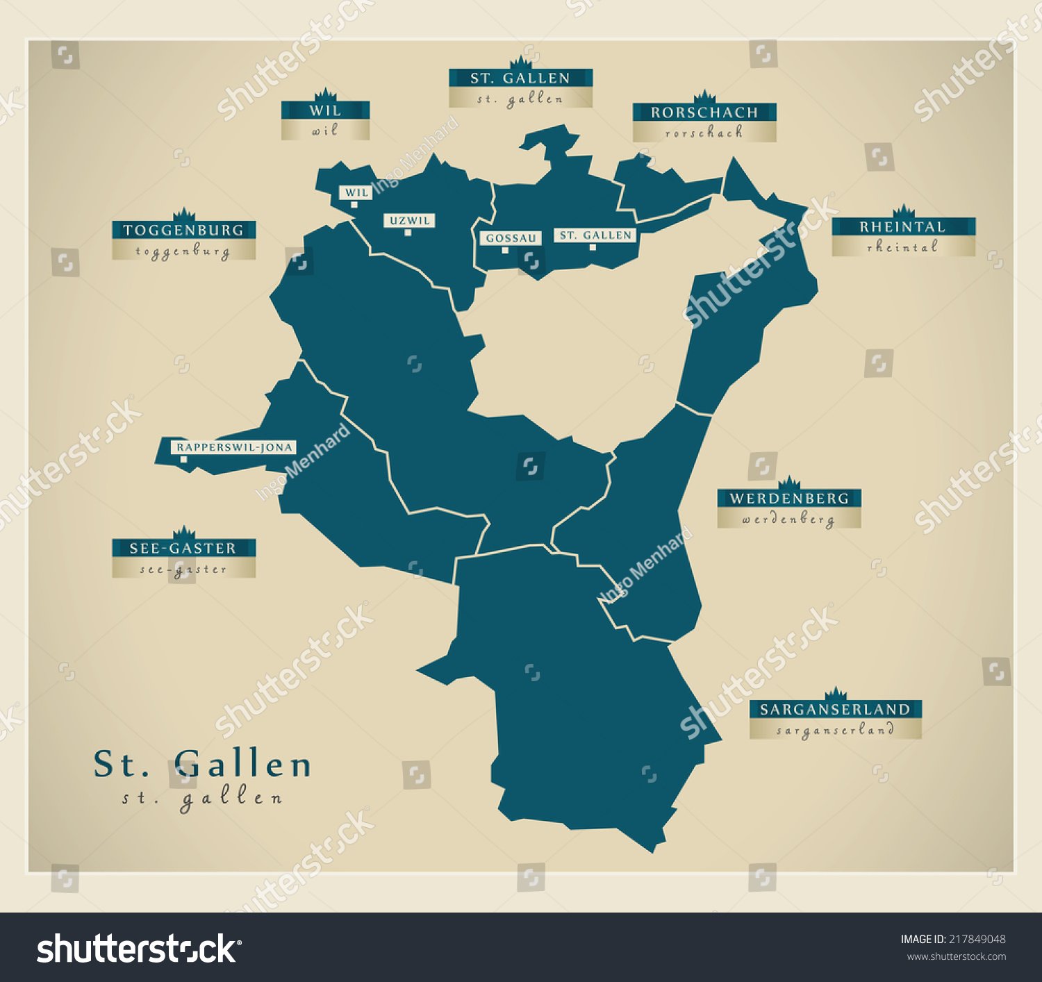 Modern Map St Gallen Ch Stock Photo Photo Vector Illustration