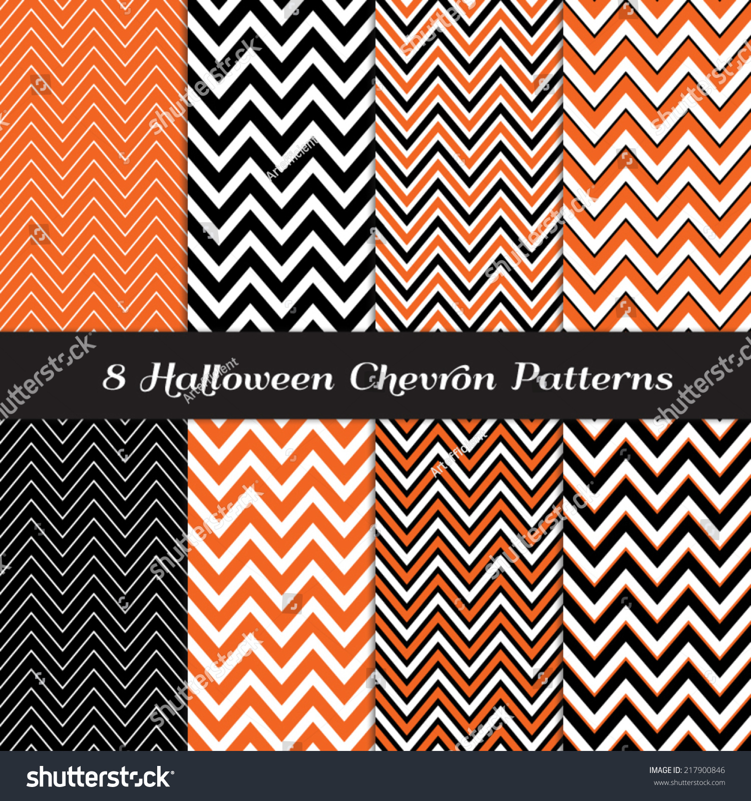 Halloween chevron in orange black and white thick