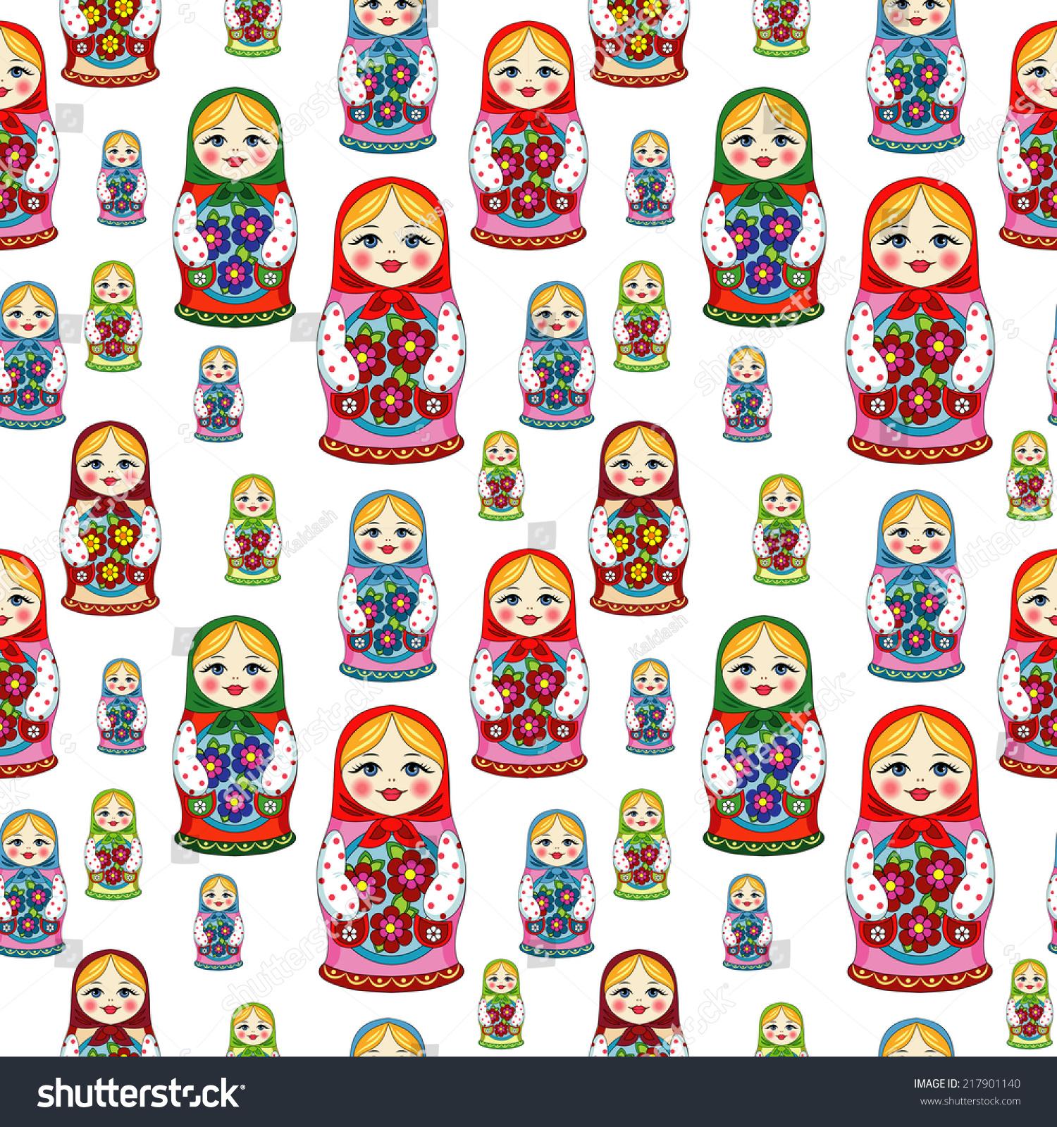 russian doll matryoshka folk seamless pattern stock vector 217901140