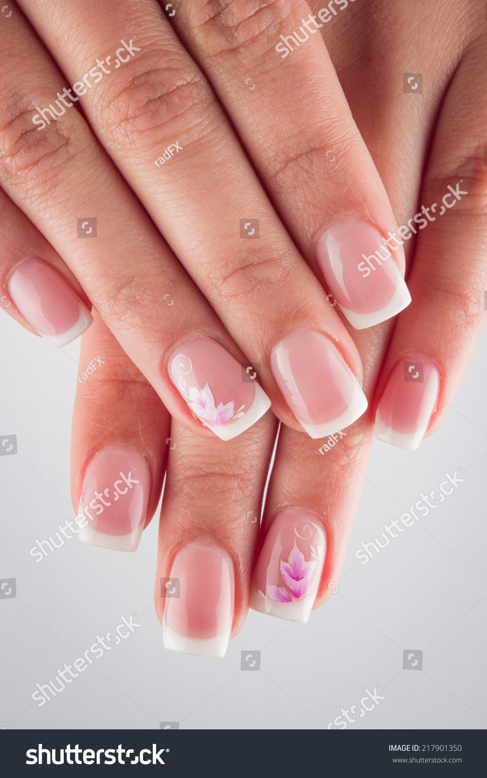 Painted Nails Flowers Hands Isolated On Stock Photo 217901350 ...
