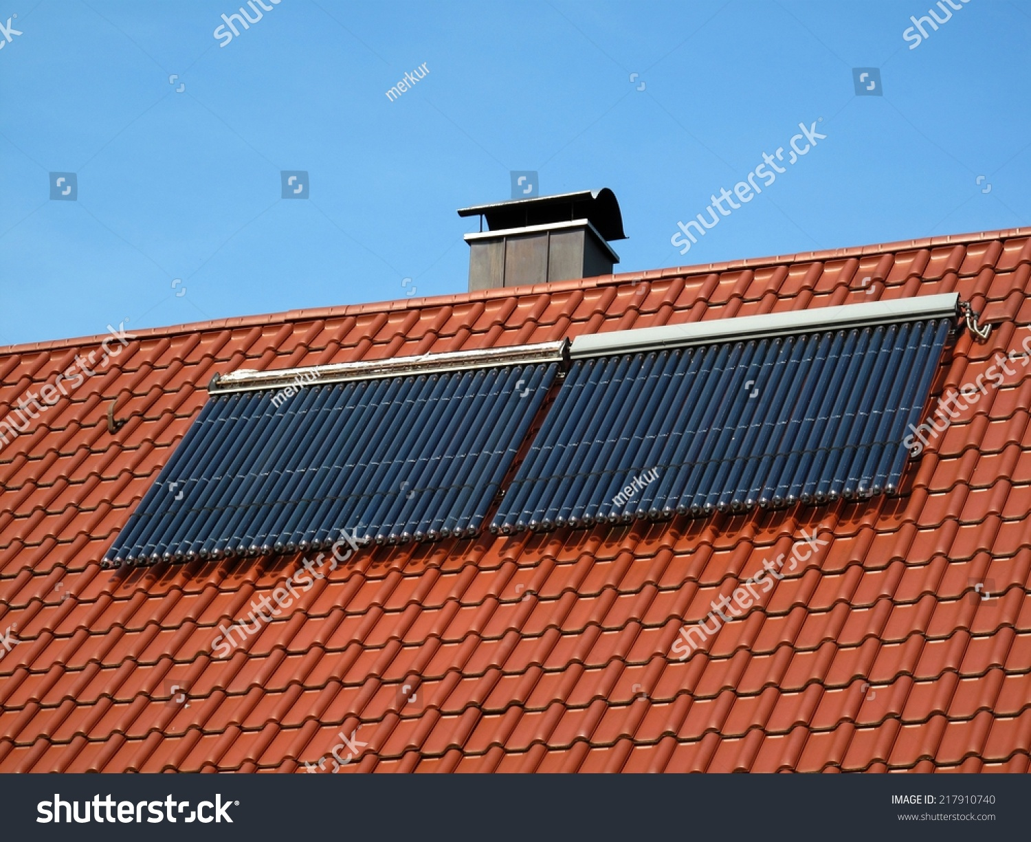 solar pipes on roof solar energy stock photo 217910740. Black Bedroom Furniture Sets. Home Design Ideas