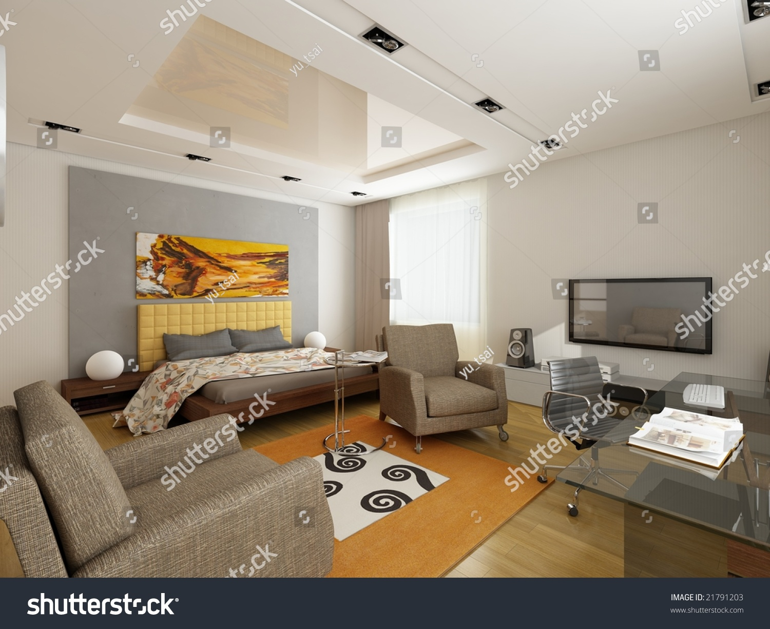 Modern interior design privat apartment 3d stock photo for Official interior design