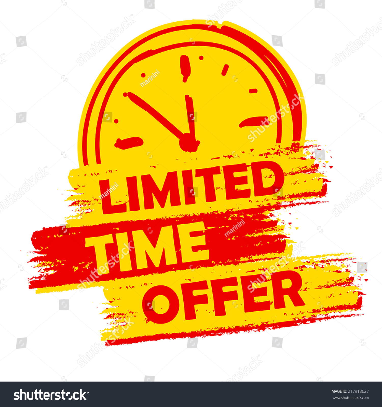 Offer: Limited Time Offer Clock Sign Banner Stock Vector