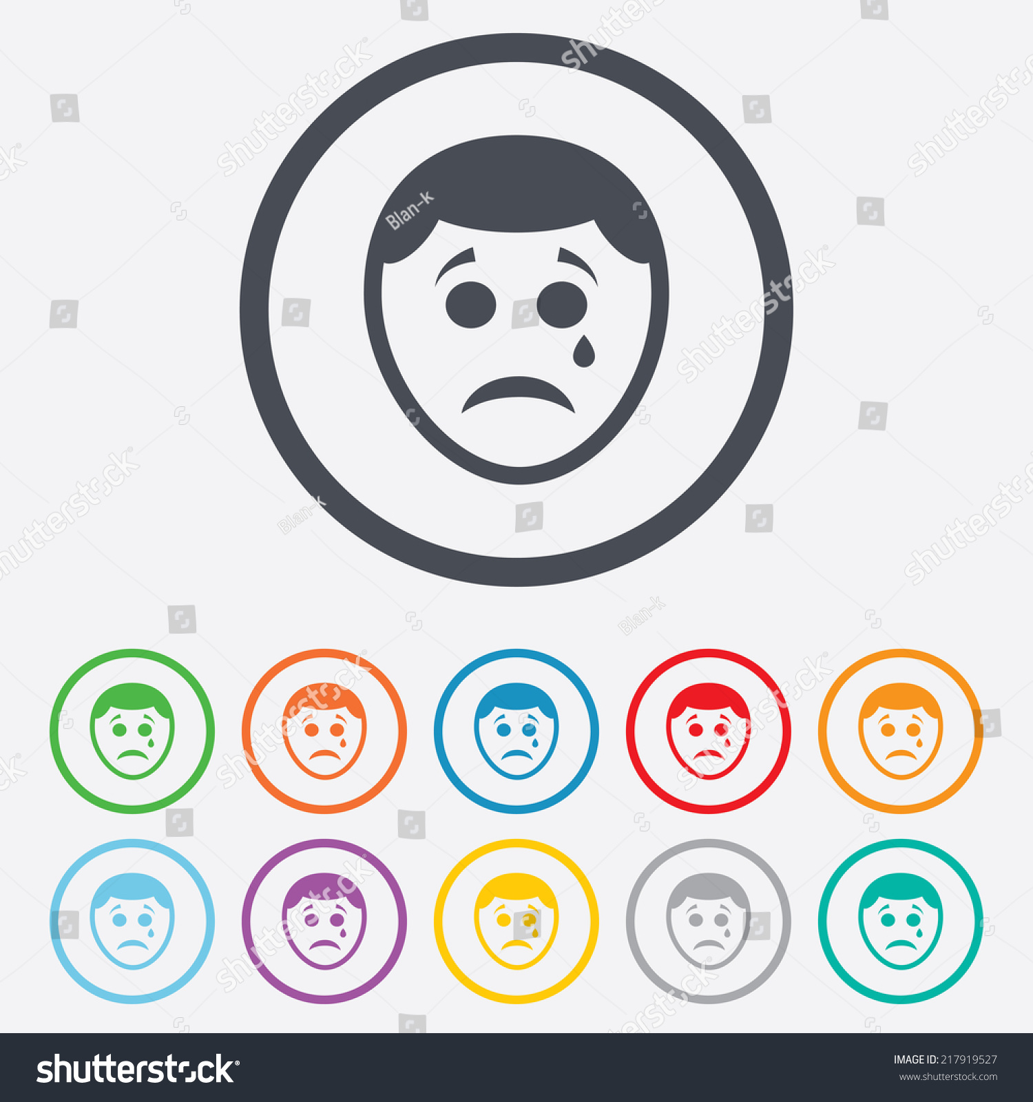 Sad Face Tear Sign Icon Crying Stock Illustration 217919527