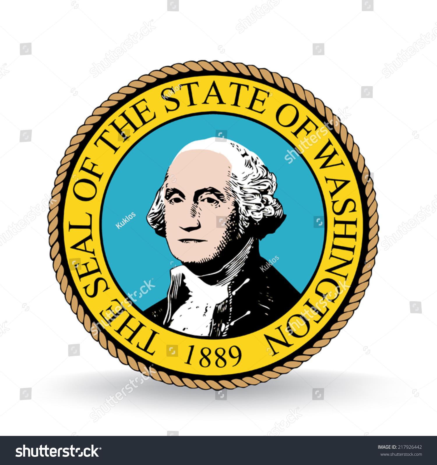 Washington State Native Plants: Seal State Washington Stock Vector 217926442