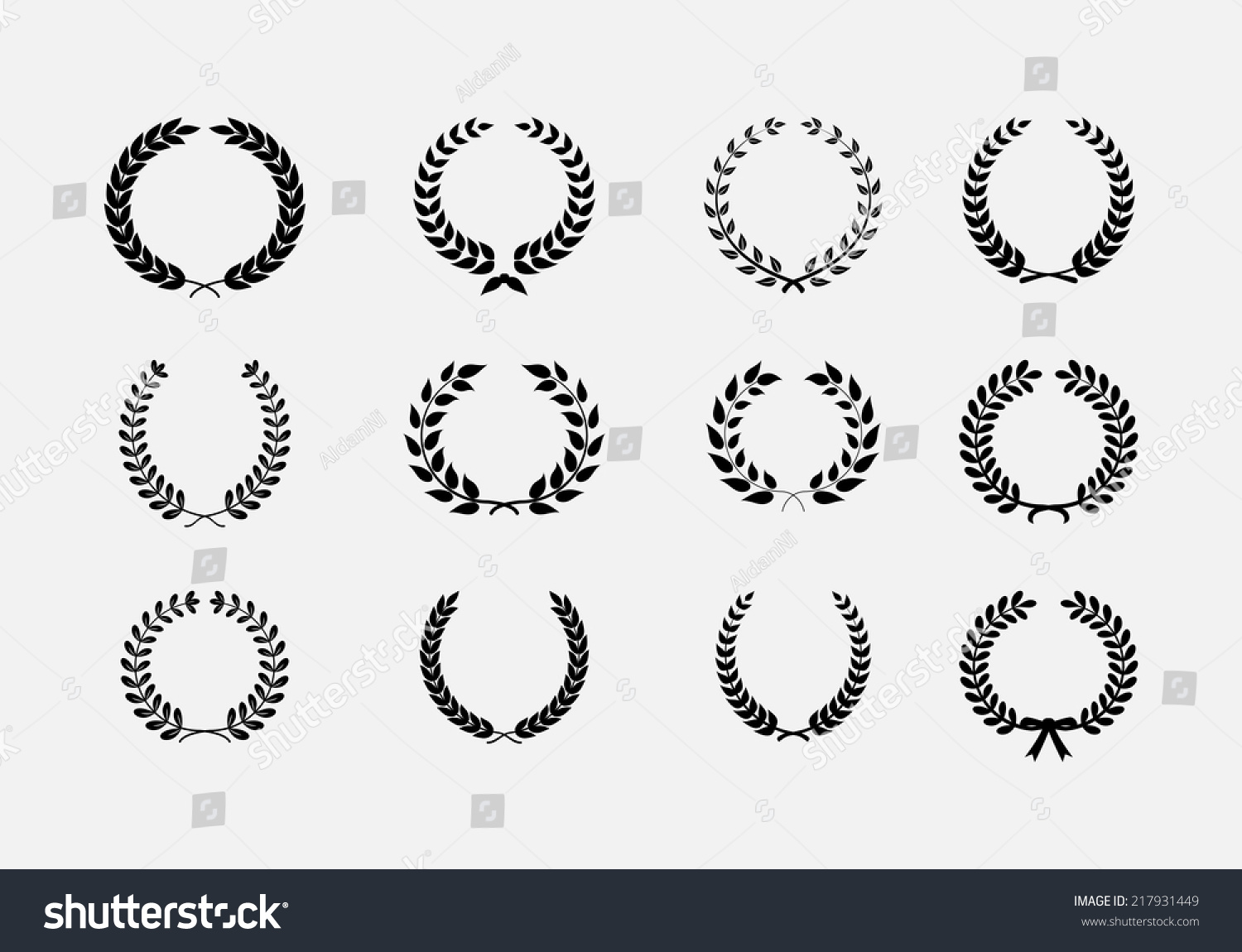 Of Wreaths Set Wreaths Wheat Circular Laurel Heraldry Stock Vector 217931449