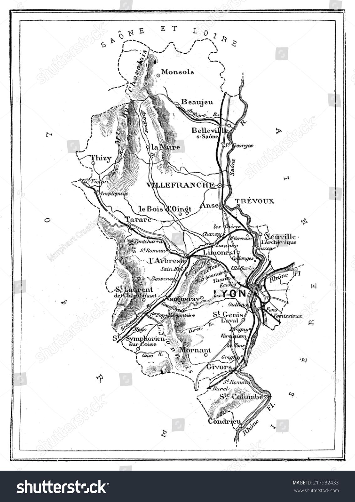 map of the department of rhone vintage engraved illustration journal des voyage travel. Black Bedroom Furniture Sets. Home Design Ideas
