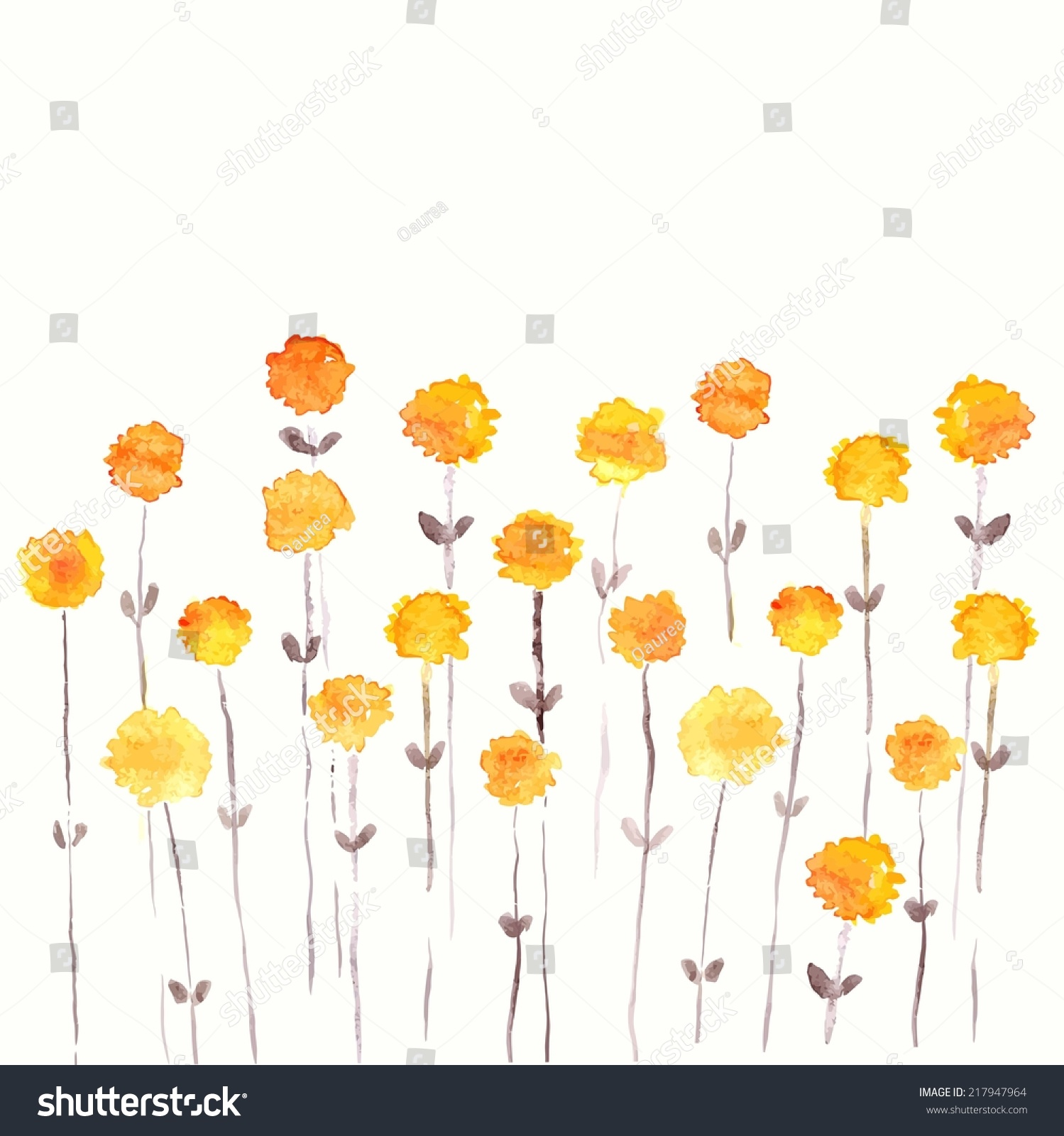 Dandelions Yellow Flowers Watercolor Floral Bouquet Stock Vector