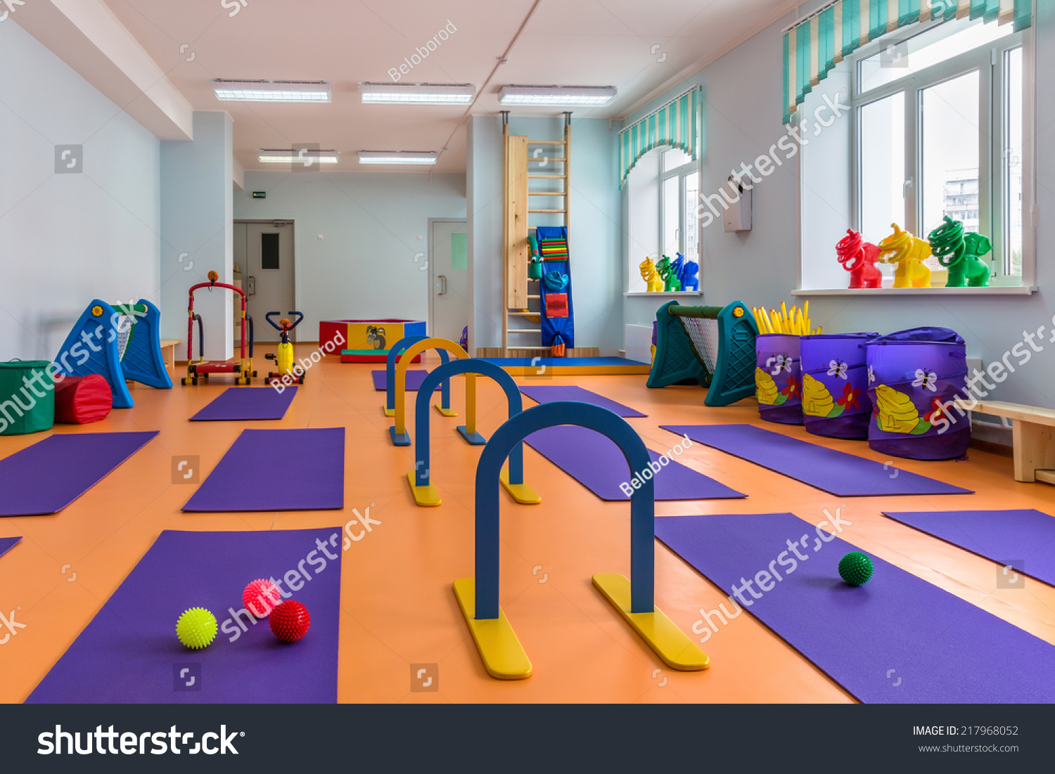 Children s room with gym equipment stock photo