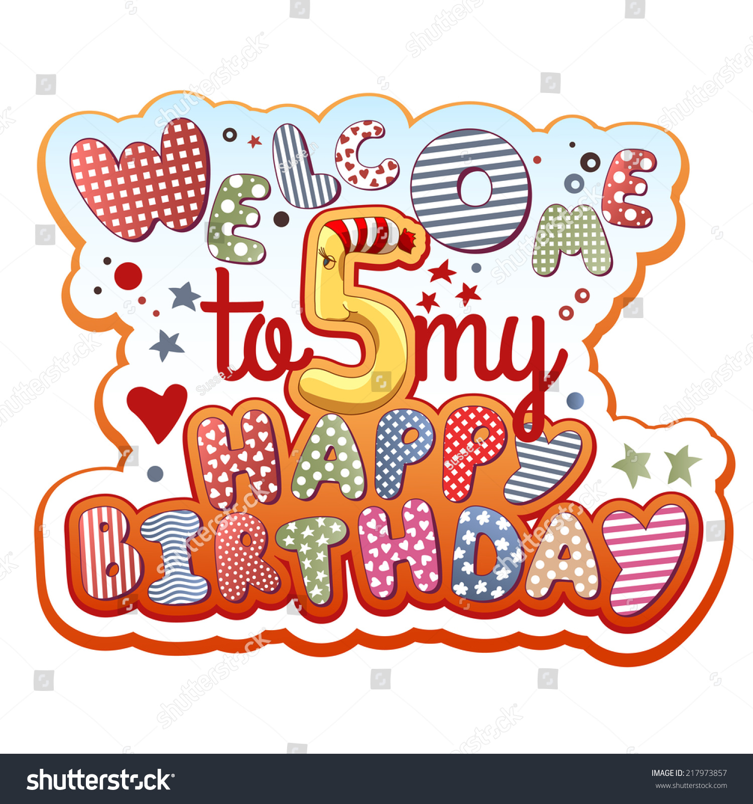 Birthday Invitation Card - 5 years old