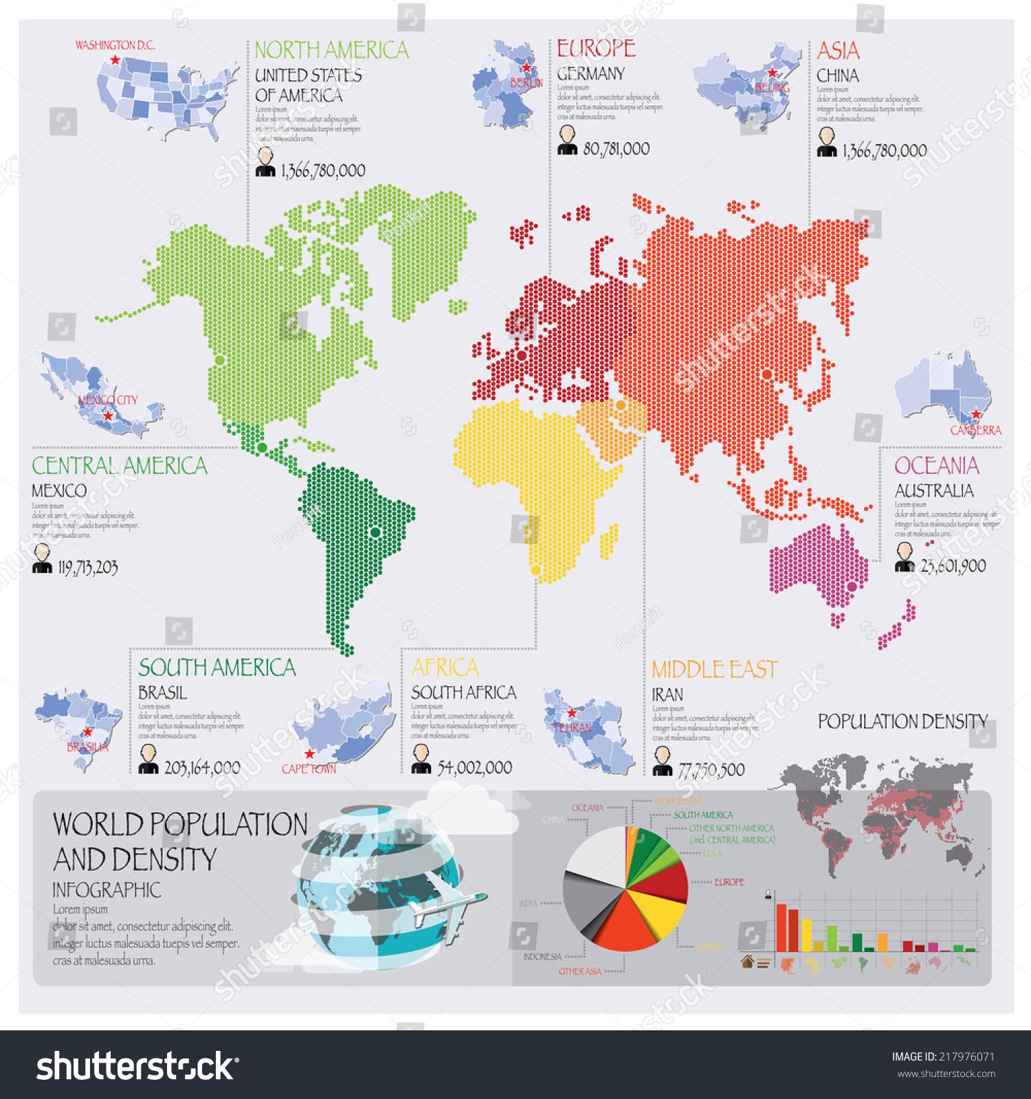 World Population Density Infographic Design Template Stock Vector - World density map