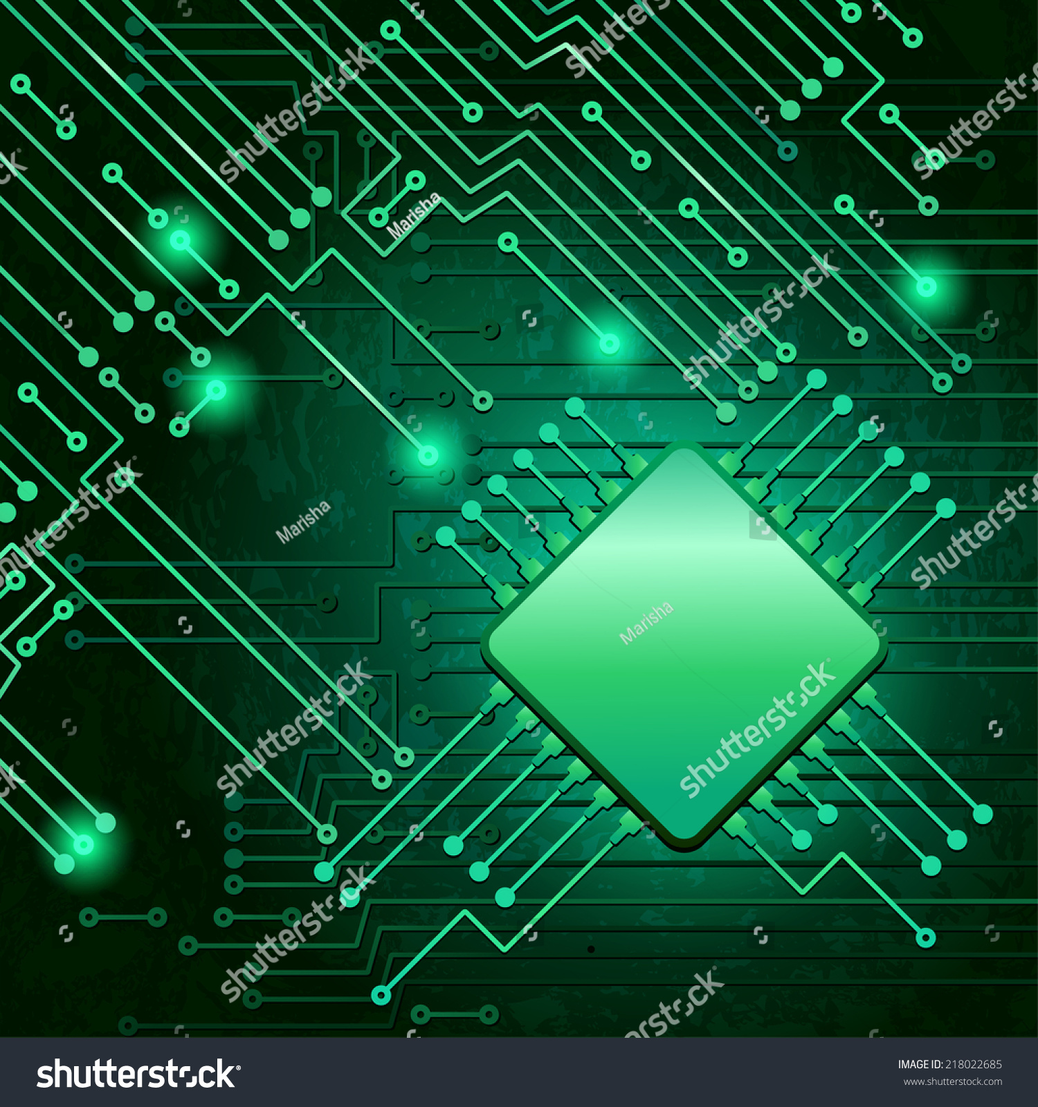 Drawing Modern Electronic Circuit On Green Stock Vector Royalty Schematic Photos Background
