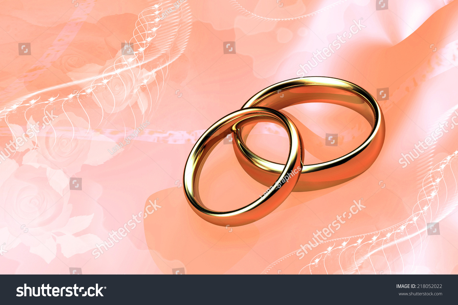 Wedding Rings On Background Color Tea Stock Illustration 218052022 ...