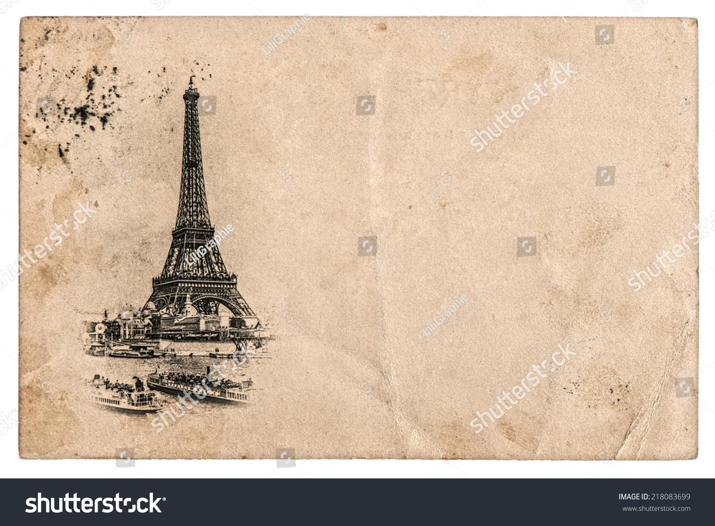 Rare Vintage Postcard Eiffel Tower Paris Stock Photo
