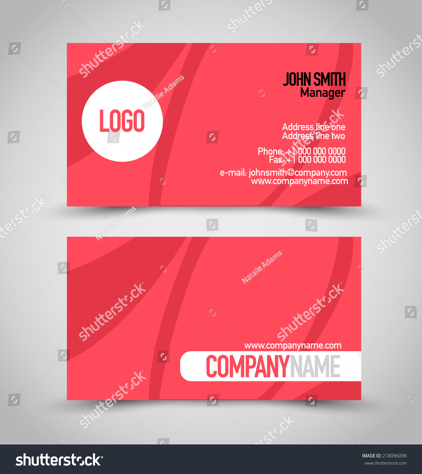 Beautiful image of two color business cards business cards and business card set template red white stock vector magicingreecefo Image collections