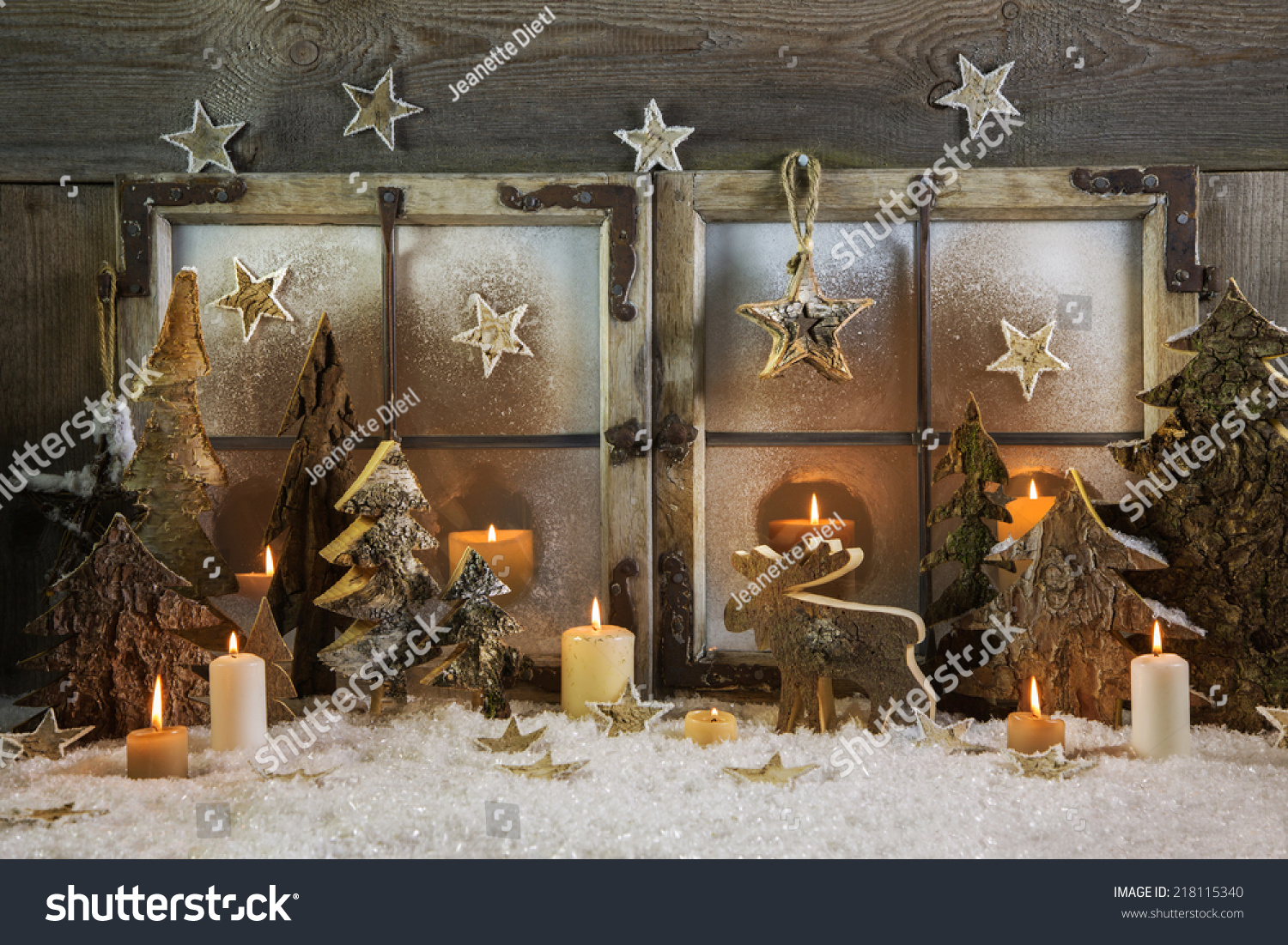 Wooden outdoor christmas decorations - Natural Handmade Christmas Decoration Of Wood Outdoor In The Window With Candles Idea For A