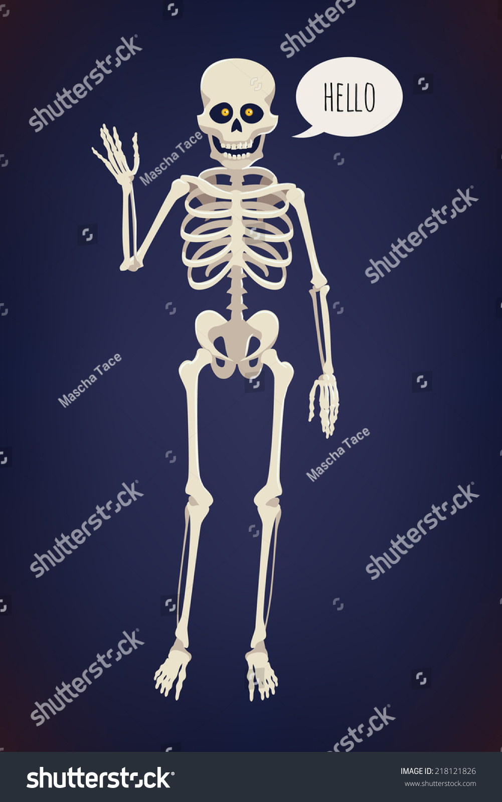 Vector Flat Cartoon Bright Colored Human Skeleton Character With Glowing Orange Eyes Waving Hand And
