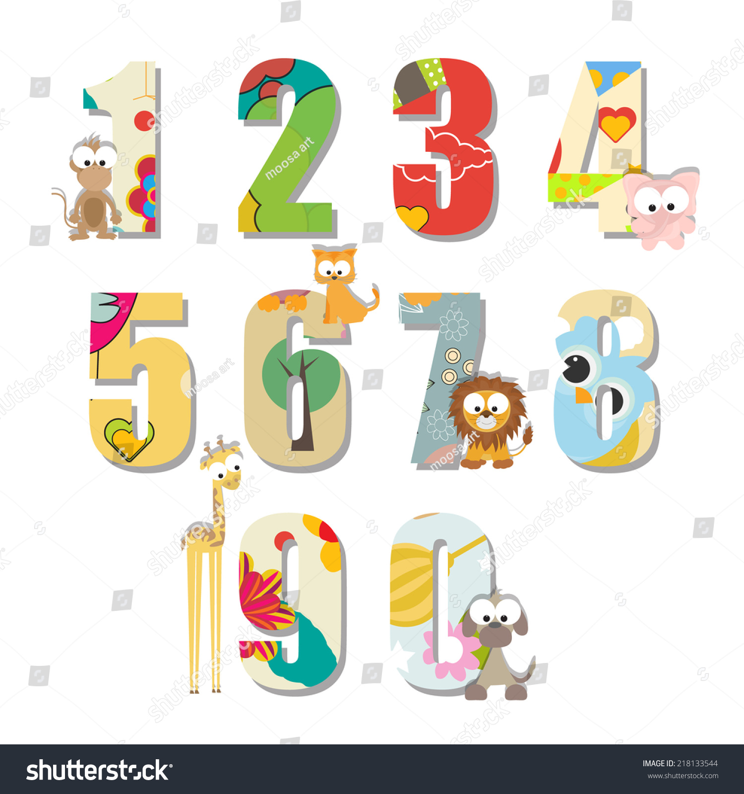 Colorful Kids Counting Numbers Sweet Animals Stock Vector ...