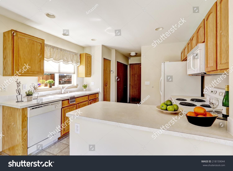 Simple Kitchen Interior Bright White Color Stock Photo Edit Now 218159044