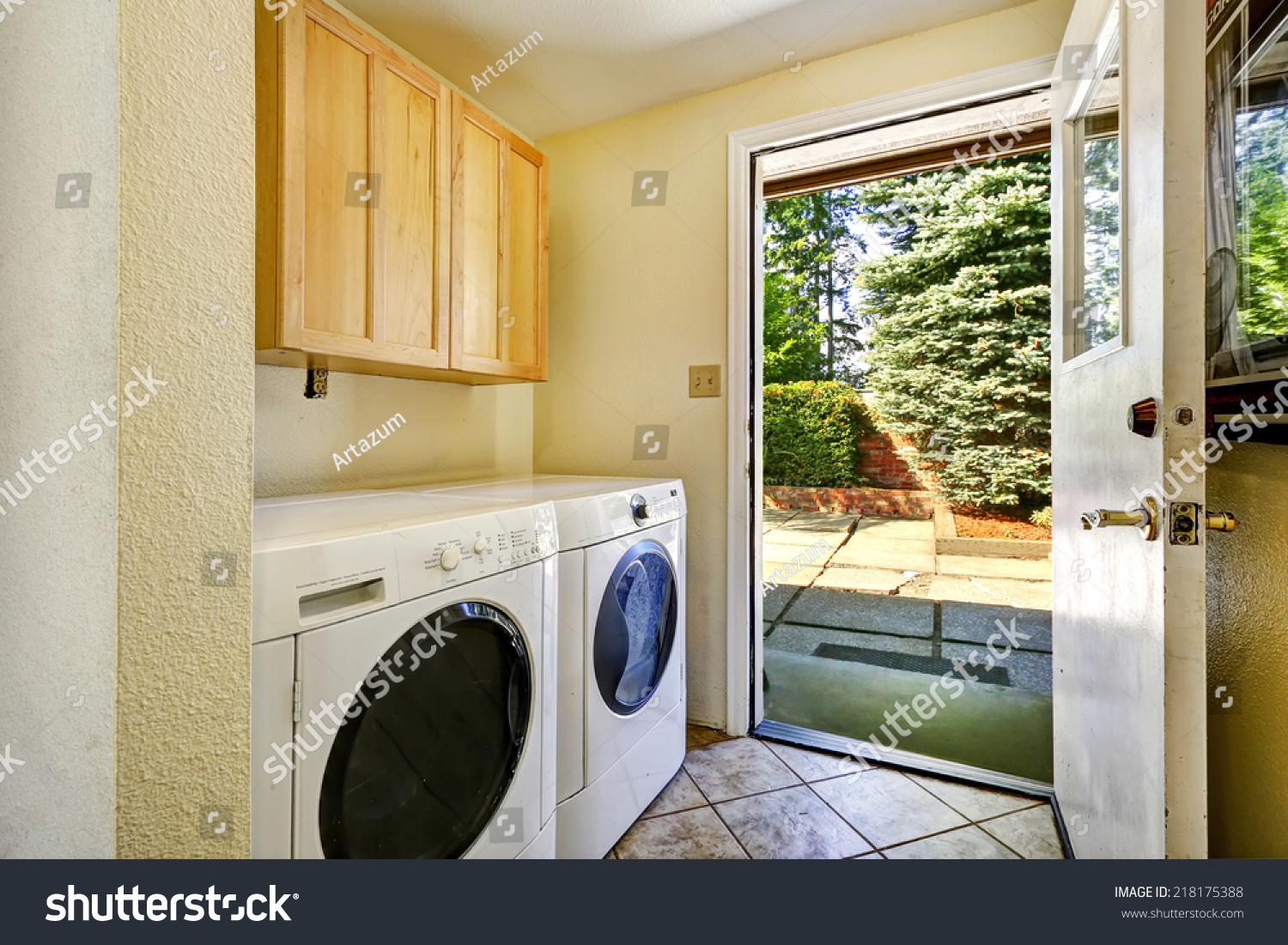 Simple Laundry Room White Appliances Old Stock Photo Edit Now 218175388