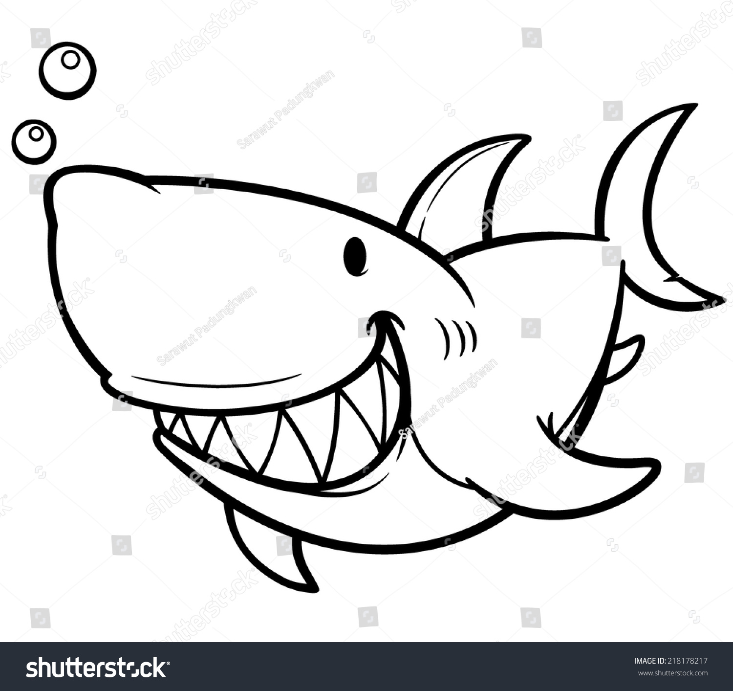 vector illustration of cartoon shark coloring book - Shark Coloring Book