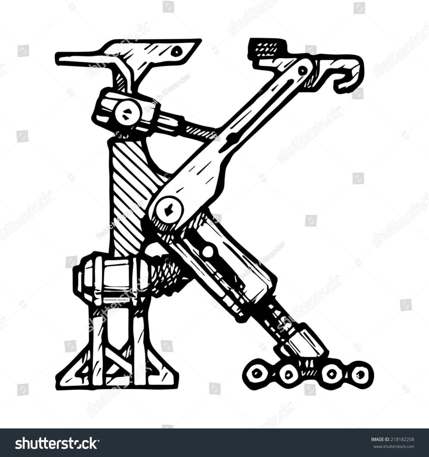 steampunk font made different technical pieces stock illustration