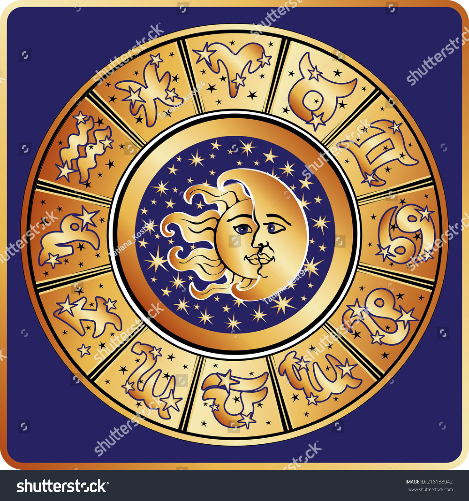 Horoscope Circle Zodiac Signs Stars Symbol Stock Vector Royalty