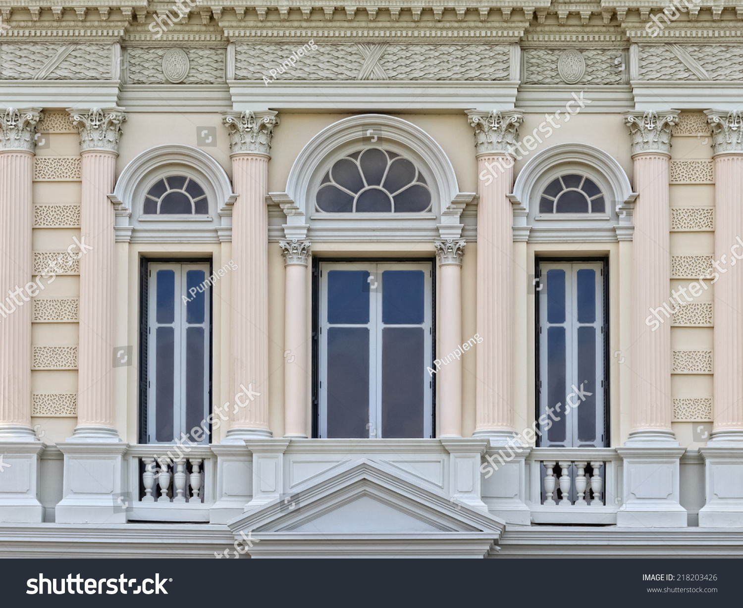 European Style Arch Window Grand Palace Stock Photo