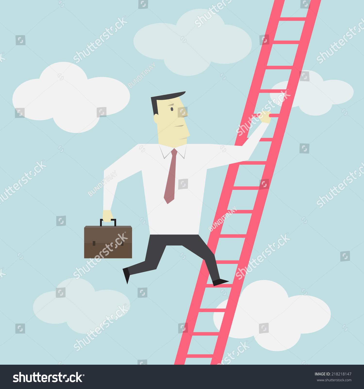 businessman climbs ladder vector stock vector shutterstock businessman climbs up the ladder vector