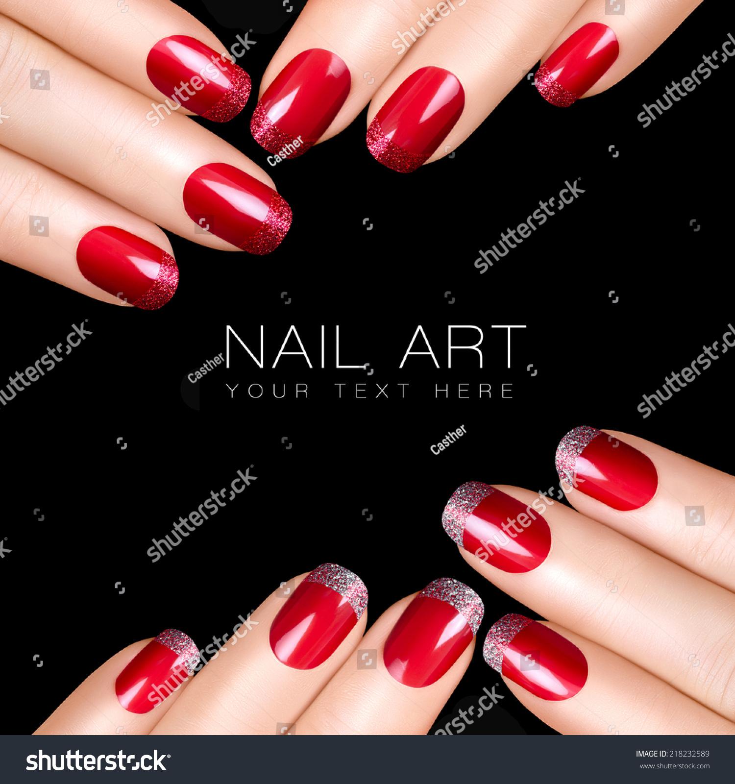 Nail Art Trend Luxury Nail Polish Nail Stickers Stock: Trend Nail Art. Luxury Nail Polish With Glitter French