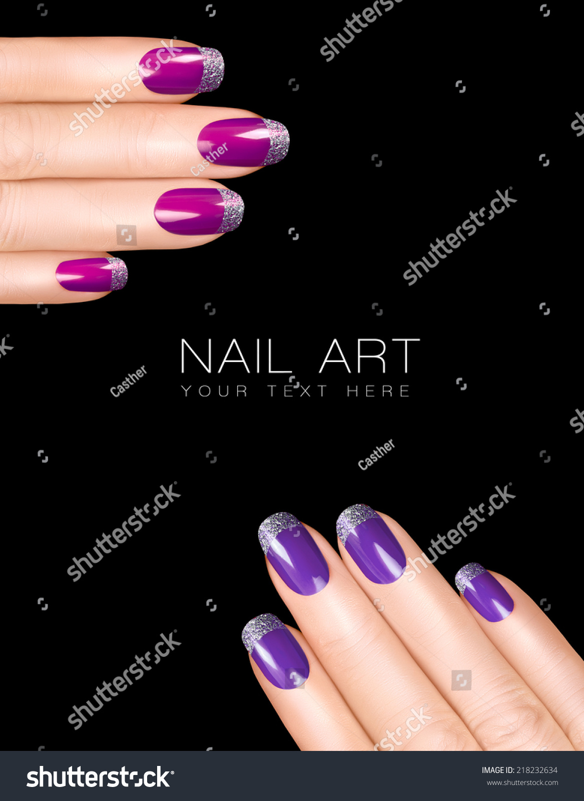 Trend Holiday Nail Art Luxury Purple Stock Photo (Royalty Free ...