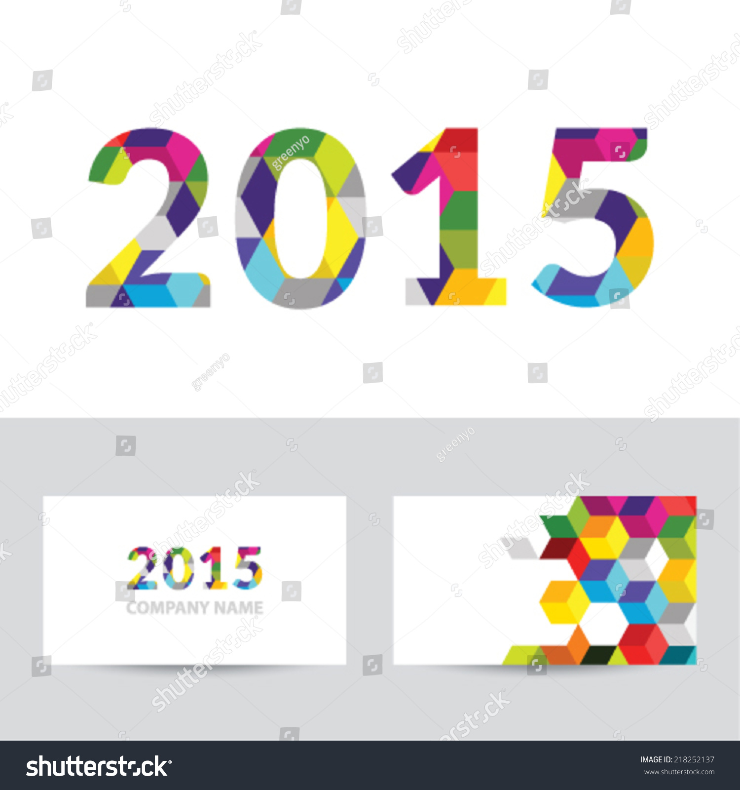 Happy New Year 2015 Business Card Stock Vector 218252137 ...