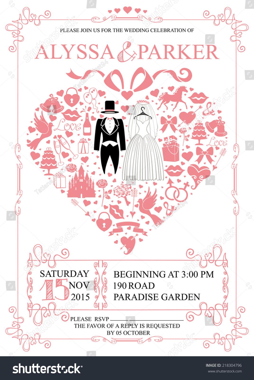 Cute Wedding Invitation Design Templatevintagecomposition Shape ...