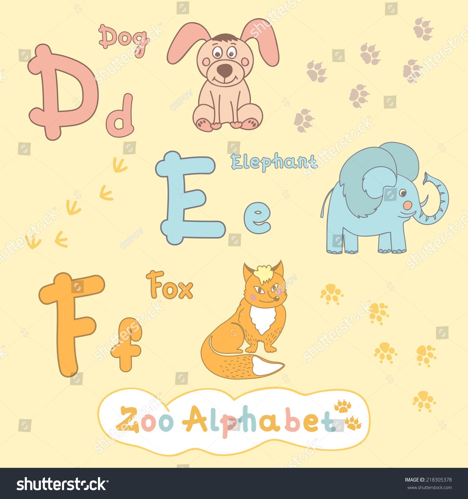 childrens alphabet animals dog elephant fox stock vector royalty