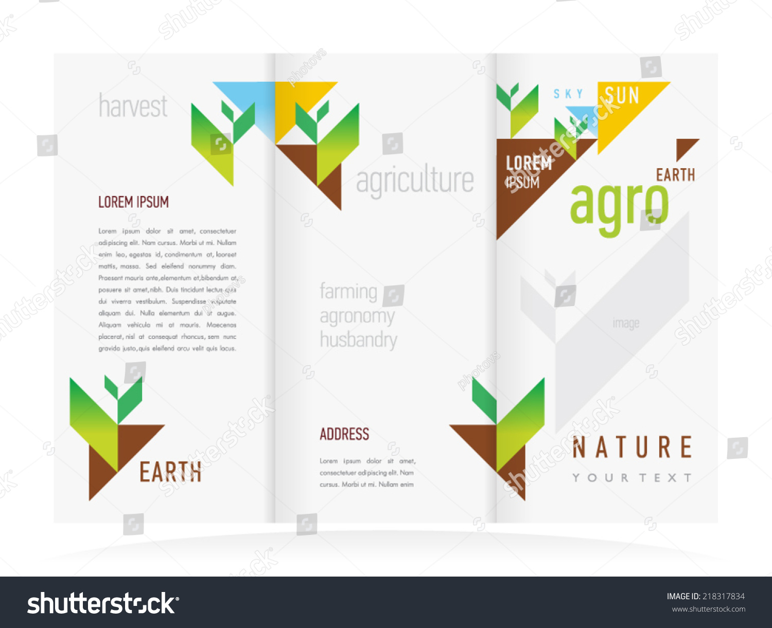 Brochure Design Template Vector Trifold Agriculture Stock ...