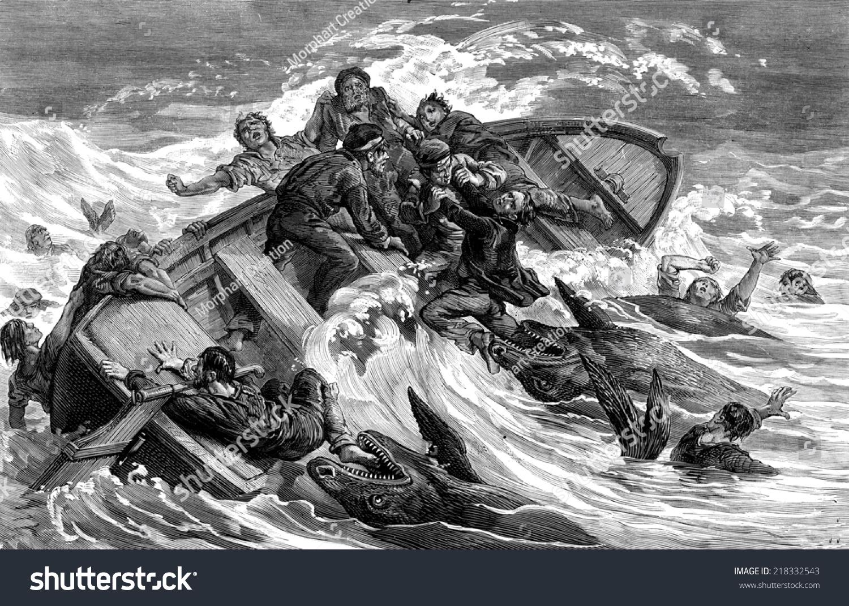 crew devours by sharks vintage engraved stock illustration 218332543 shutterstock. Black Bedroom Furniture Sets. Home Design Ideas