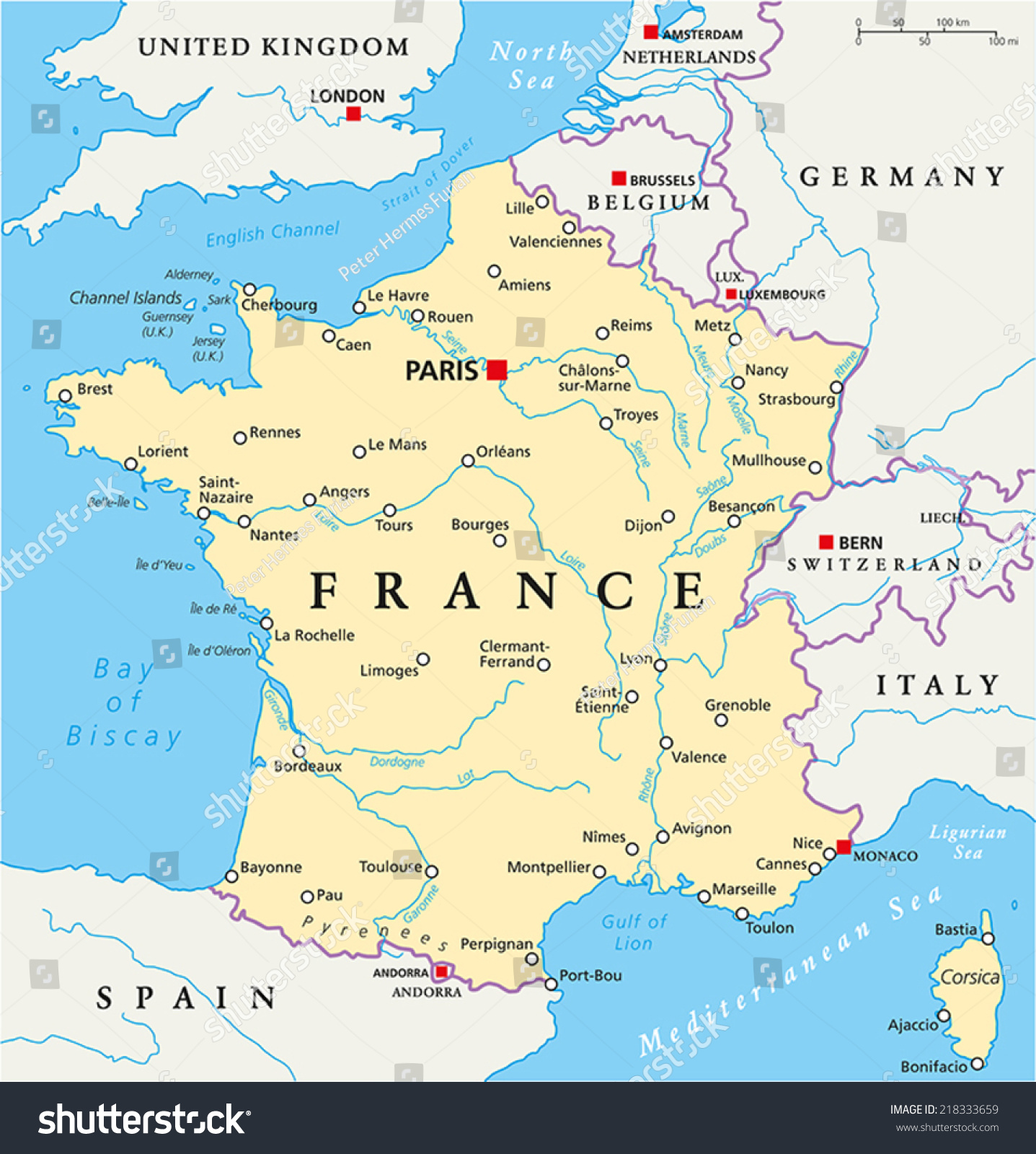 France Political Map with capital Paris, national borders, most ...: www.shutterstock.com/pic-218333659/stock-vector-france-political...
