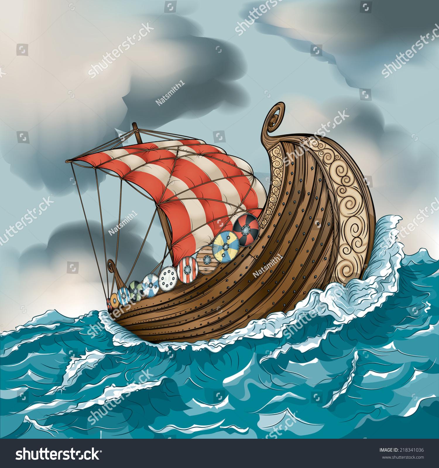 vector drawing vikinglong ship easy edit stock vector 218341036