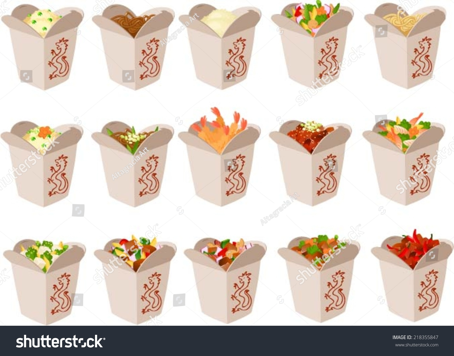 Vector Illustration Chinese Food Take Out Stock Vector 218355847 ...