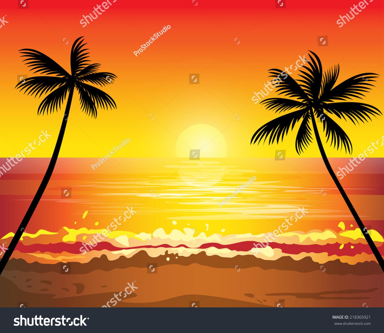 Sunset Ocean Summer Beach Tropical Palm Stock Vector