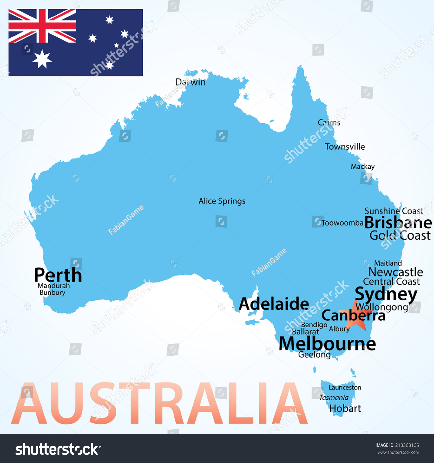 Australia Map Largest Cities Carefully Scaled Stock Vector - Australia map cities
