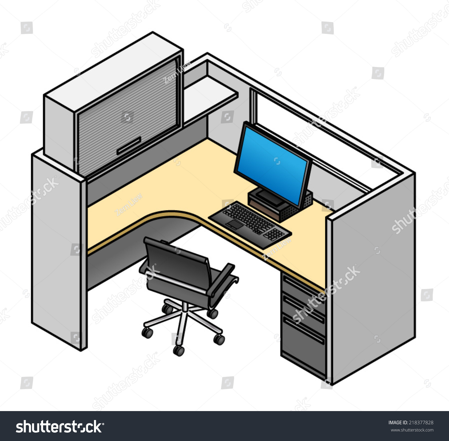 Office Cubicle Mid Height Partitions Window Stock Vector