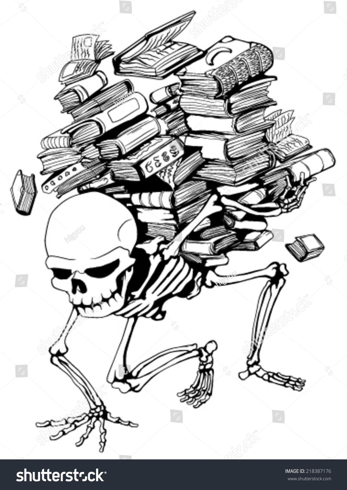 skeleton holding pile books vector vertical stock vector 218387176