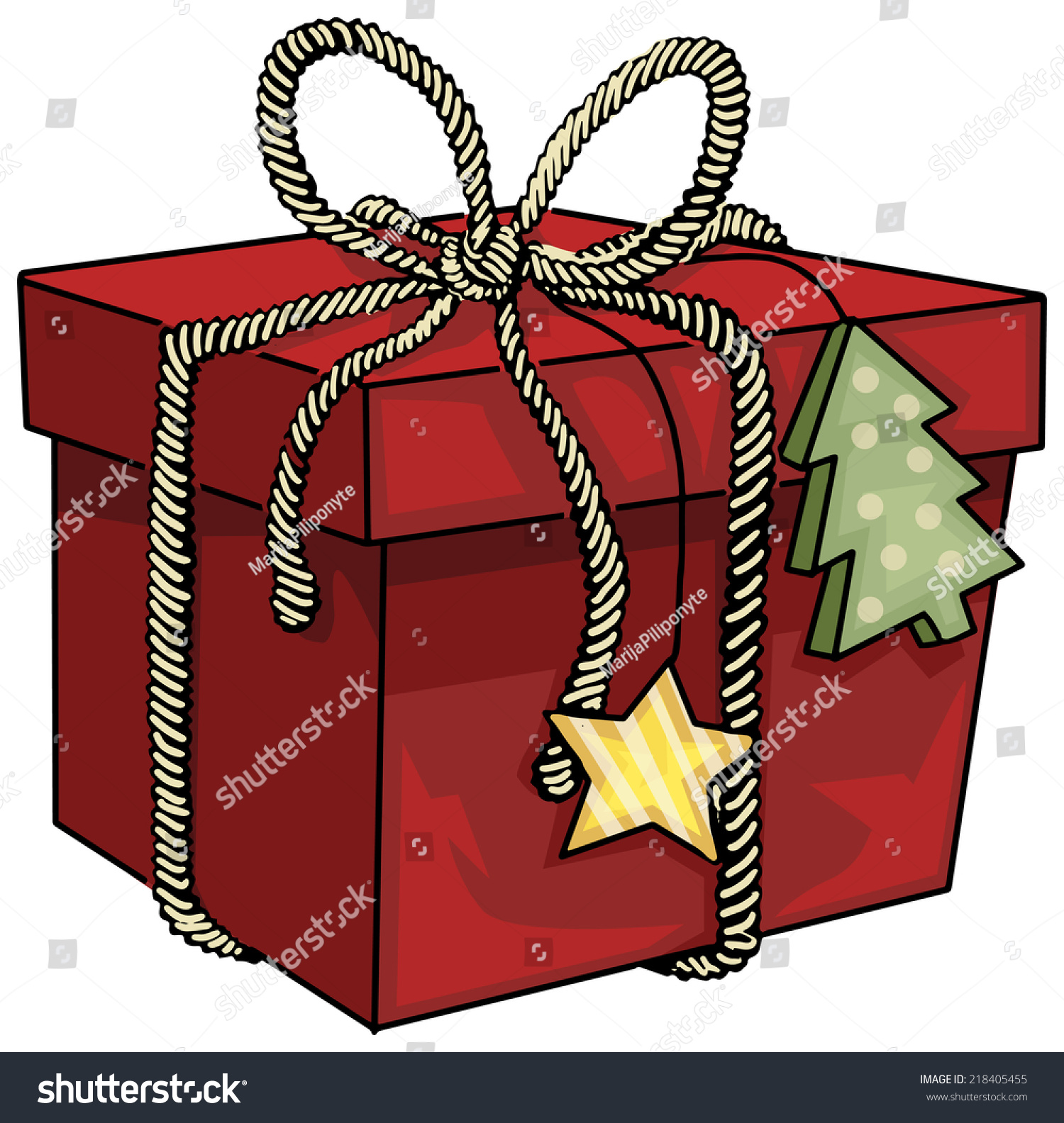 Wrapped Christmas Gift Vector Illustration Stock Vector Royalty Free 218405455