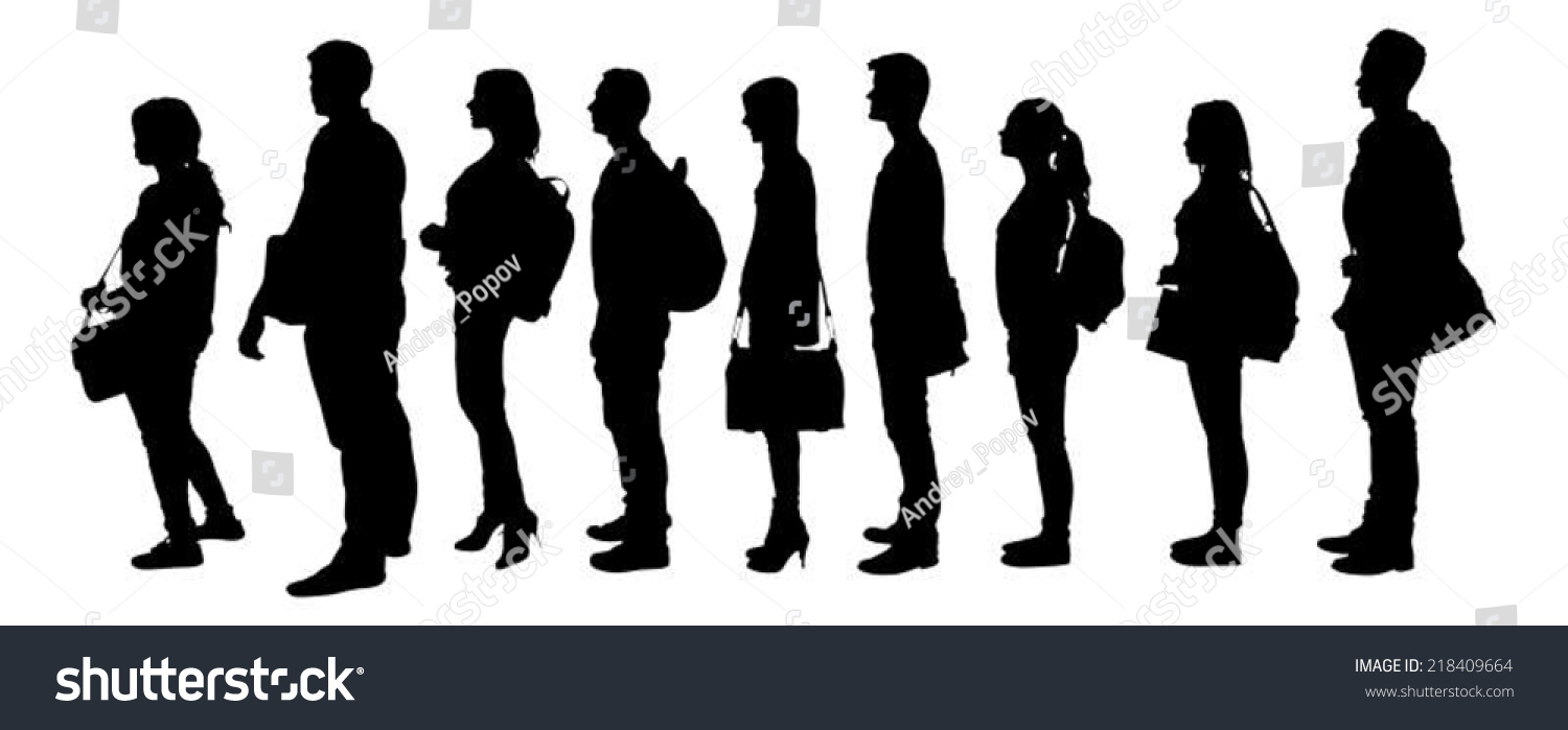 Full Length Silhouette College Students Standing Stock ...