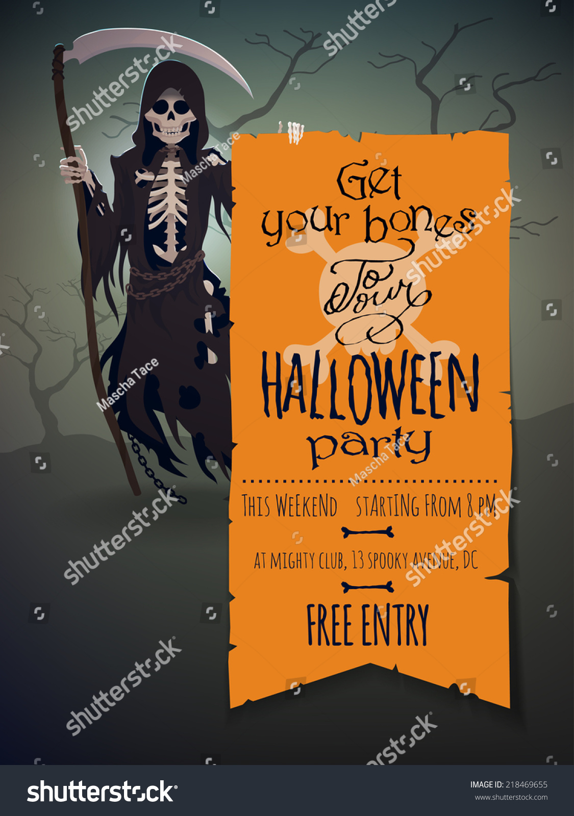 Vector Halloween Invitation Template Featuring Death Stock Vector ...