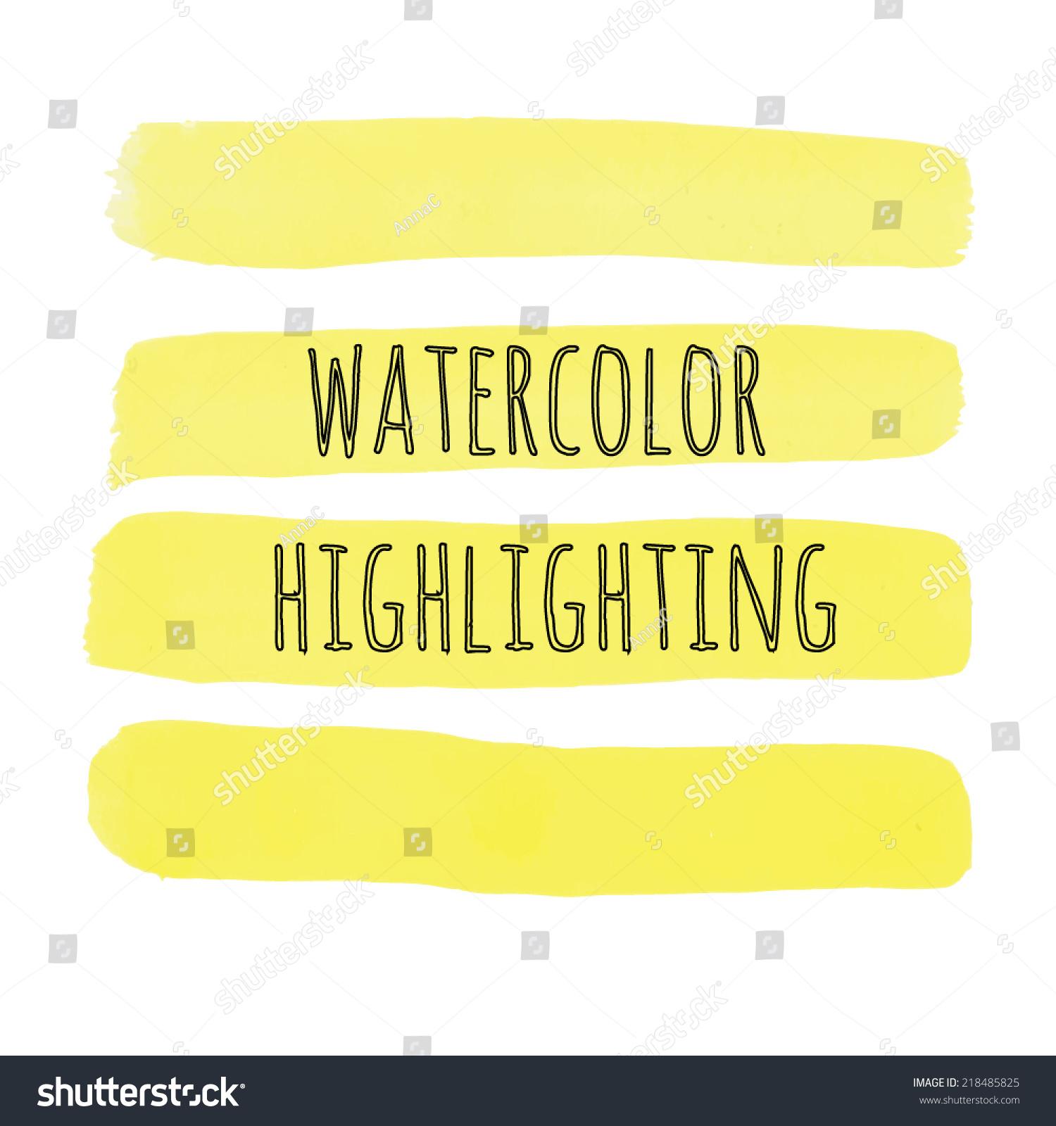 Yellow Watercolor Highlighting Stock Vector 218485825 - Shutterstock